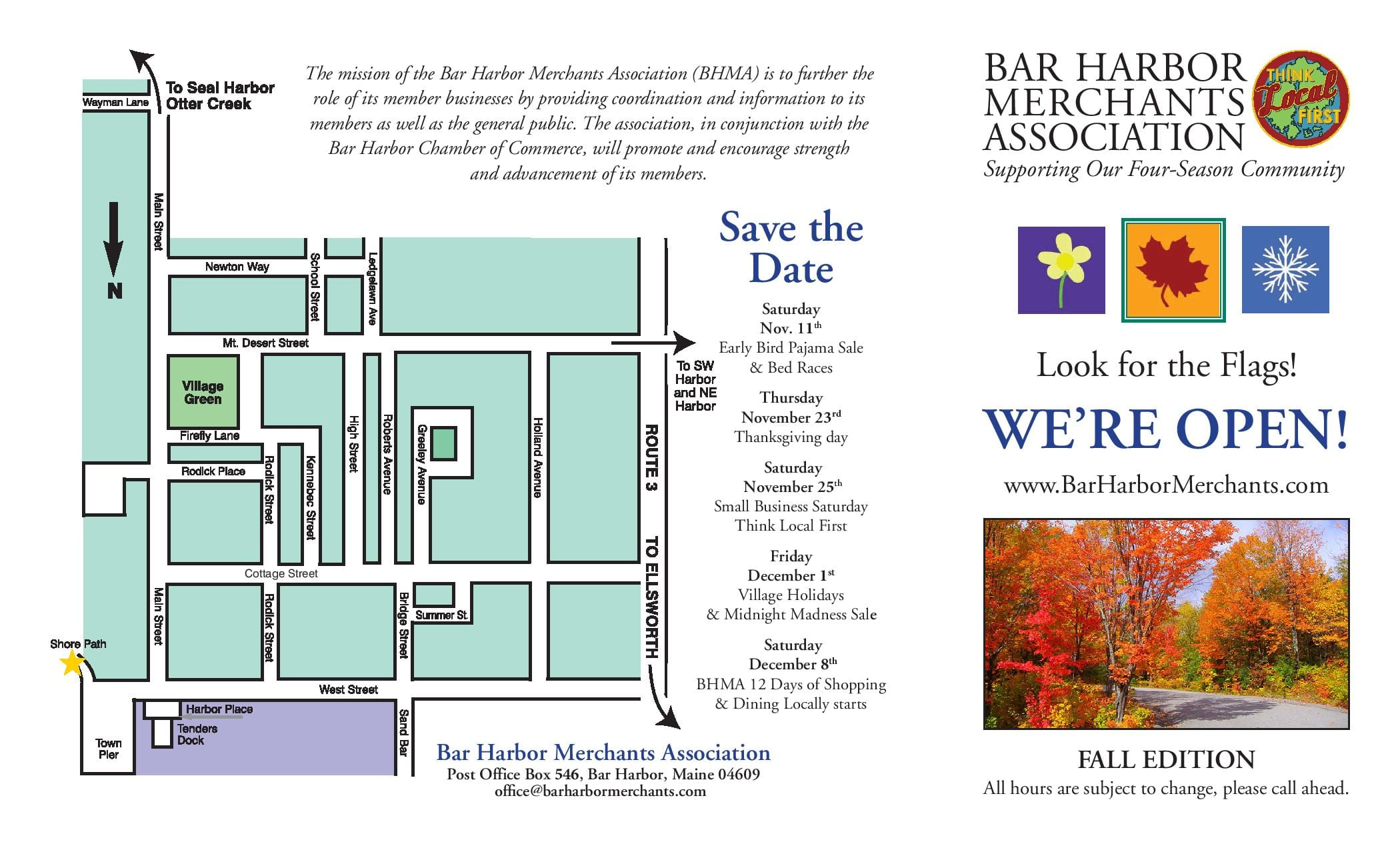 Bar Harbor Merchants Open Directory, Fall 2016